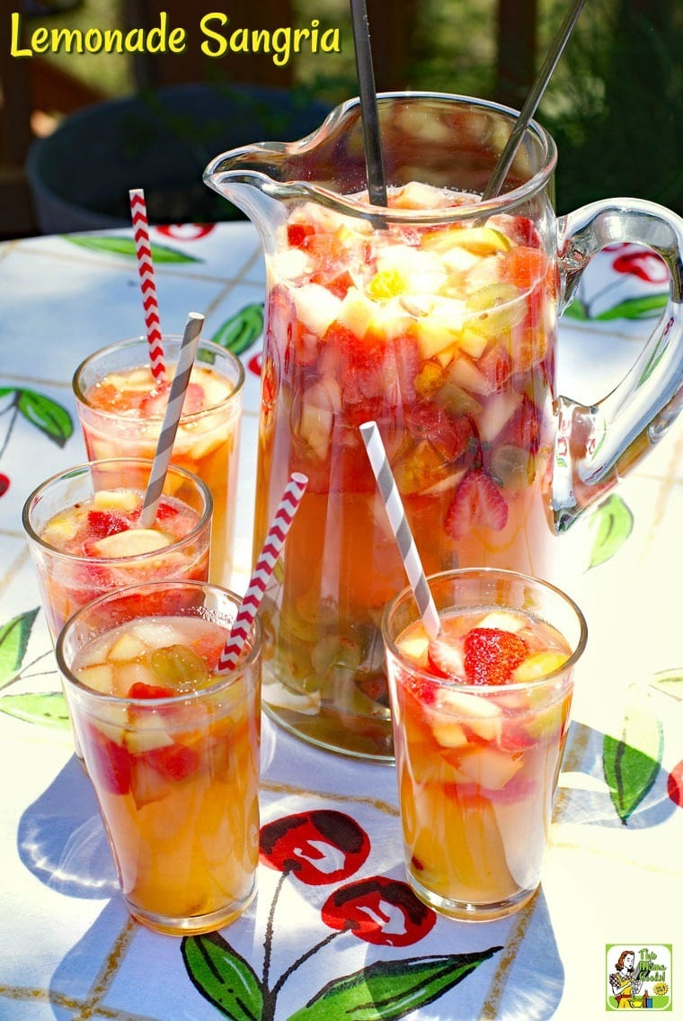 Serve up a pitcher of Lemonade Sangria at your next party. This non-alcoholic sangria better-for-you alternative to beer or wine. This mock sangria recipe is the combination of fruit, lemonade and limeade juices, and sparkling apple juice. #mocktails #drinks #drinking #recipes #easy #recipeoftheday #easyrecipe #fruit #nonalcoholic #juice #lemonade #sangria