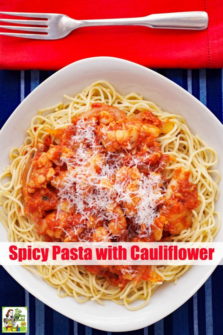 Spicy Pasta with Cauliflower is a vegetarian recipe and a wholesome alternative to meat sauce with spaghetti. This pasta with cauliflower dish is perfect for Meatless Mondays, too. Can be made with gluten free pasta, high protein, whole wheat, or regular pasta. #recipes #easy #recipeoftheday #glutenfree #easyrecipe #easyrecipes #glutenfreerecipes #dinner #easydinner #dinnerrecipes #dinnerideas #pasta #cauliflower