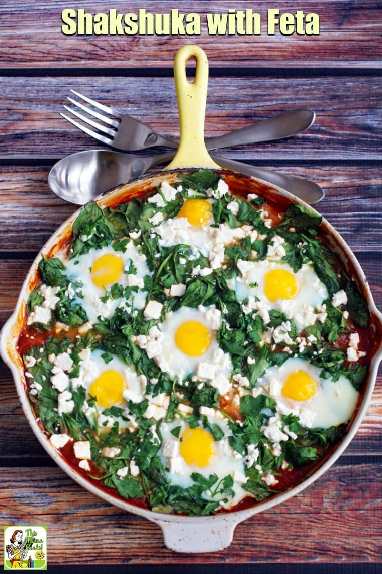Shakshuka with feta can be served for breakfast or dinner. This easy shakshuka recipe is made in a cast iron skillet. Shakshuka ingredients include a tomato-based sauce and eggs as the main ingredients along with bacon or pancetta and spinach. #recipes #easy #recipeoftheday #glutenfree #easyrecipe #easyrecipes #glutenfreerecipes #breakfast #brunch #eggs #dinner #easydinner #dinnerrecipes #dinnerideas