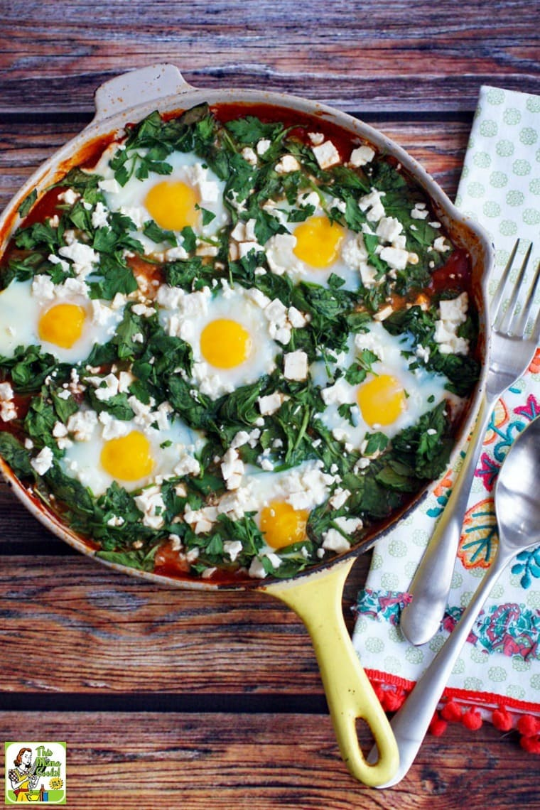 Shakshuka ingredients include eggs and a tomato-based sauce