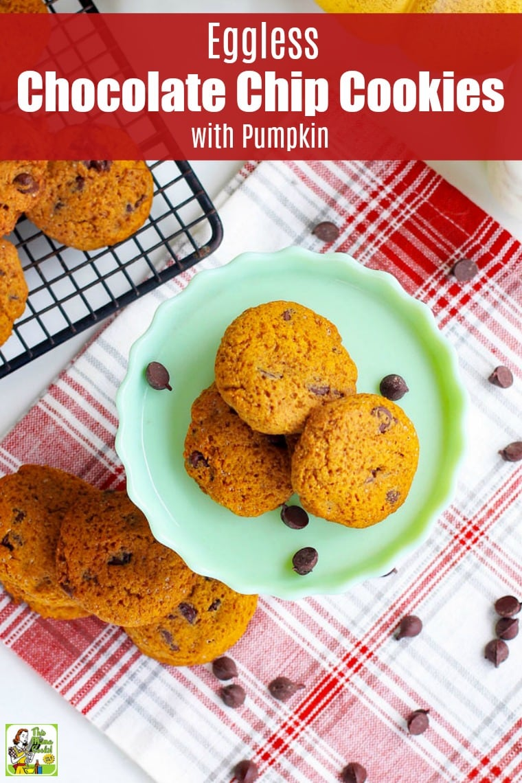Eggless Chocolate Chip Cookies are made with pumpkin puree and organic shortening. Easy to make, these moist pumpkin cookies are egg-free, dairy-free and vegan. Comes with gluten-free and sugar-free options. #recipes #easy #recipeoftheday #glutenfree #glutenfreerecipes #desserts #dessertrecipes #dessertideas #baking #cookies #vegan #dairyfree #eggfree #cookies #cookierecipes #pumpkin #sugarfree #sugarfreerecipes #chocolate #chocolatechip #chocolatechipcookies #cookiedough