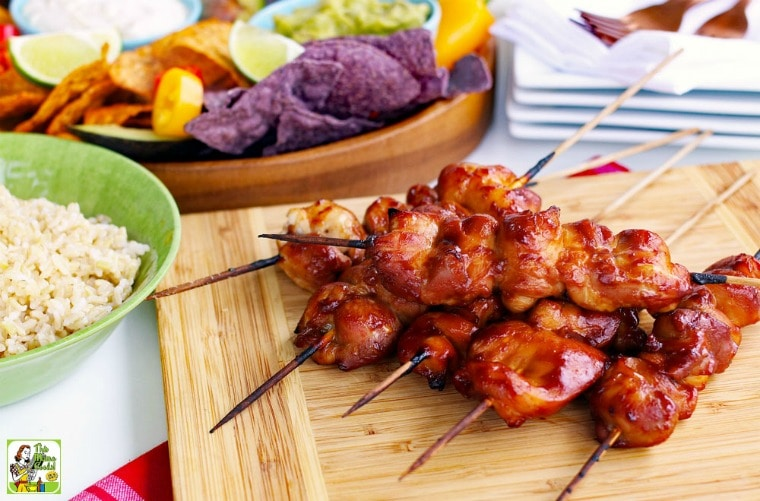 You can cook these chicken skewers in the oven or on the grill.
