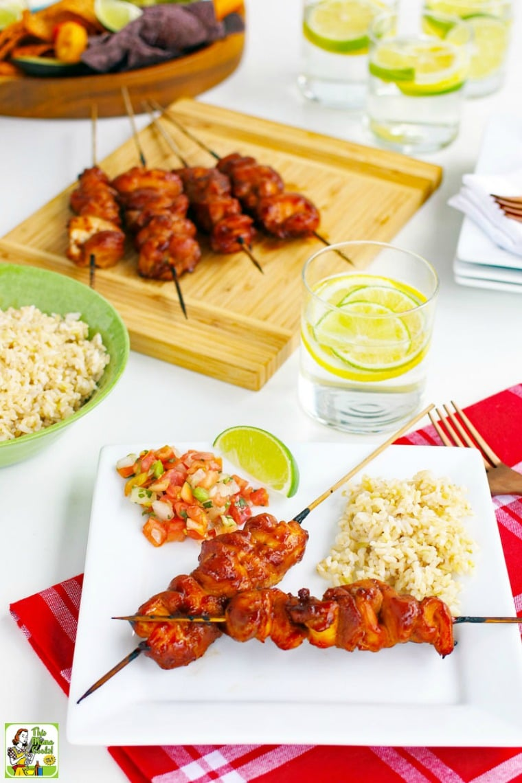 Serve with this tasty sriracha chicken kabobs recipe with rice and vegetables.