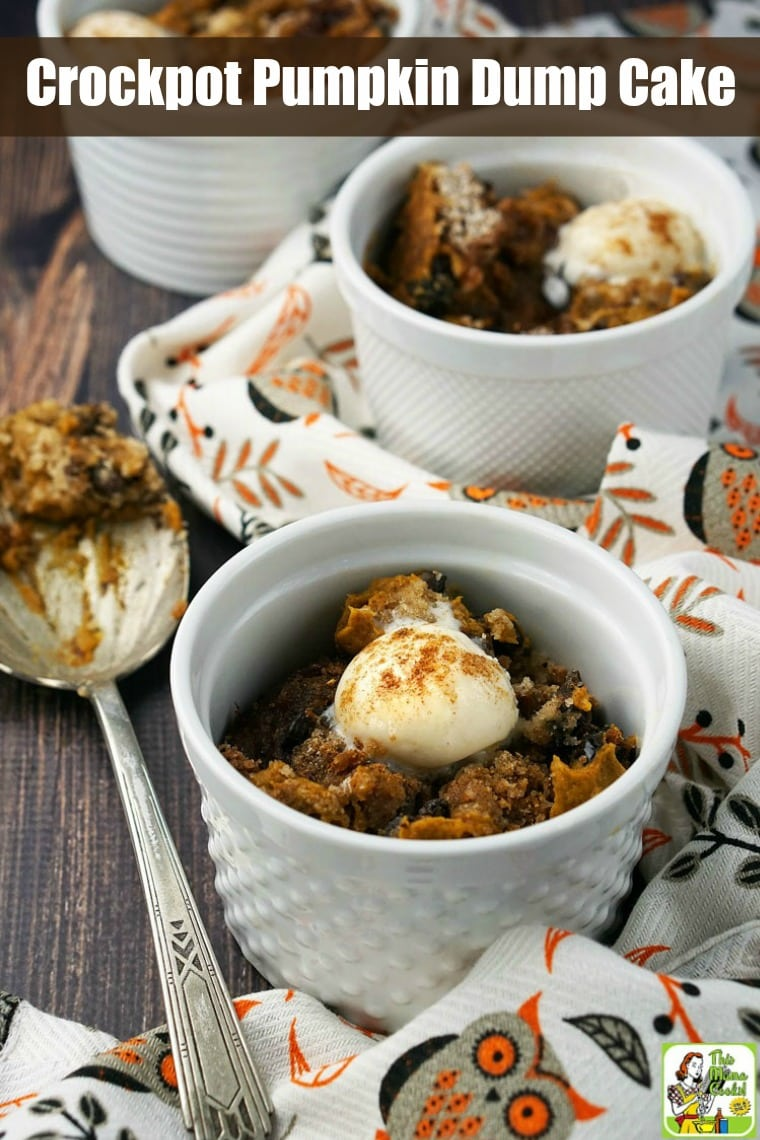 Two bowls of pumpkin dump cake with coconut ice cream.
