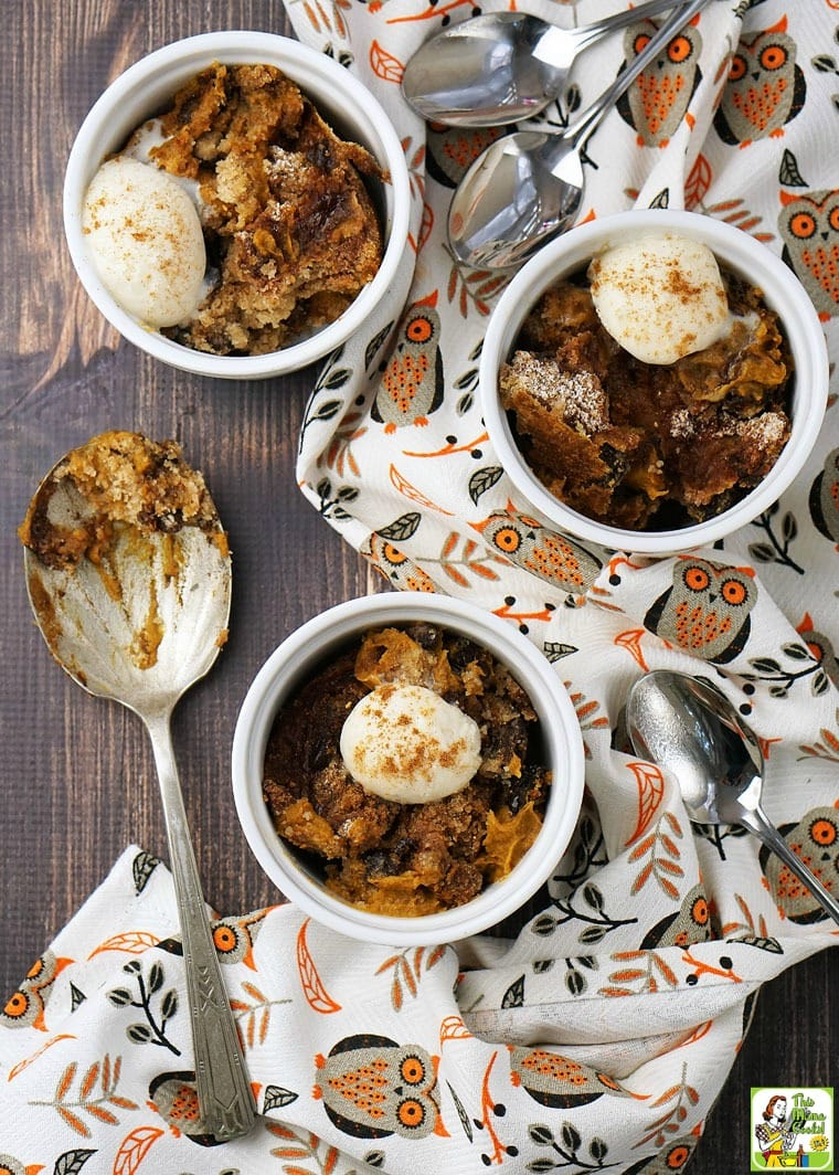 Bowls of pumpkin dump cake with scoops of coconut ice cream, spoons, owl tea towels, and a serving spoon.