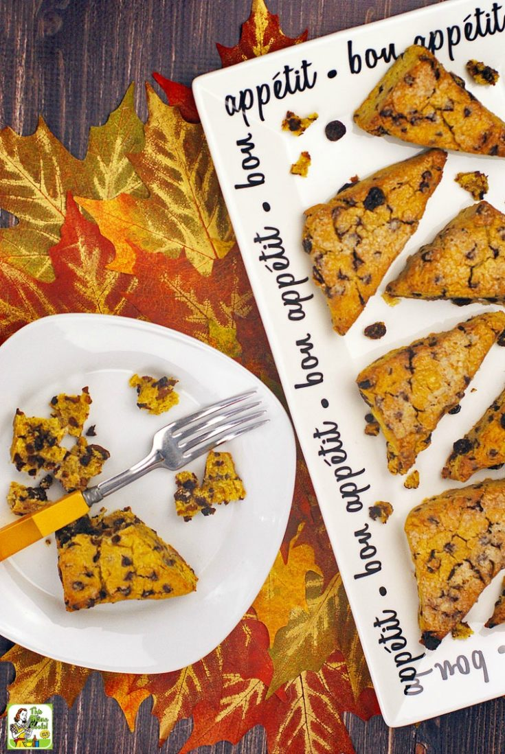 A tray and plate of pumpkin gluten free and dairy free scones