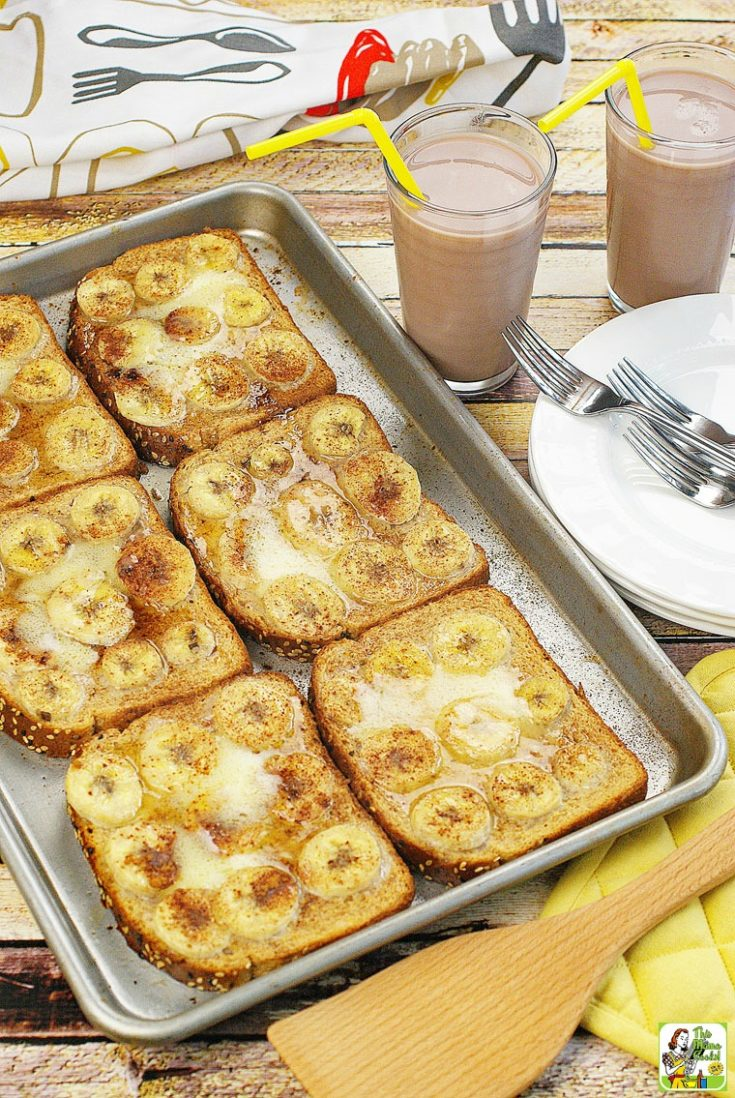 A tray of oven baked french toast with pumpkin and bananas.