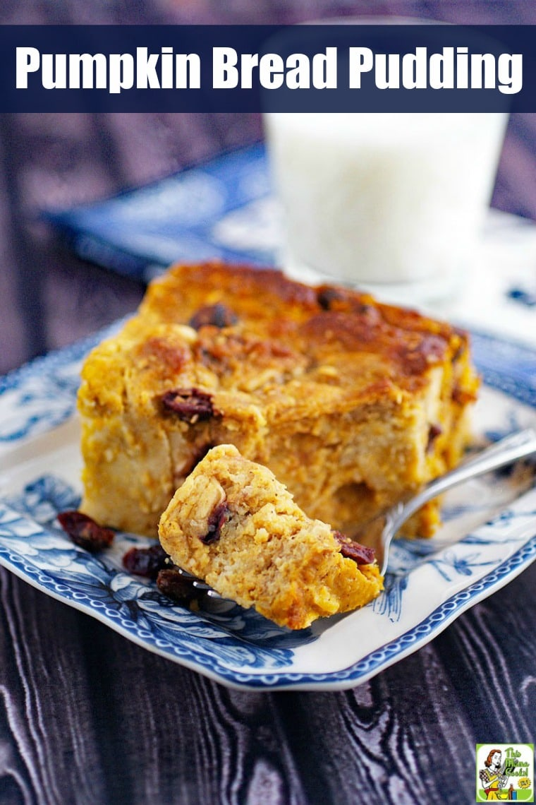 Pumpkin Bread Pudding on a blue and white plate with a fork