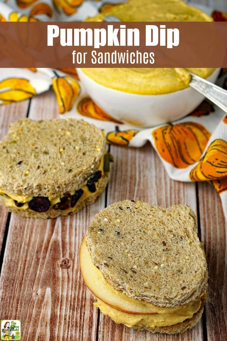 Pumpkin dip sandwiches and pumpkin dip in a white bowl