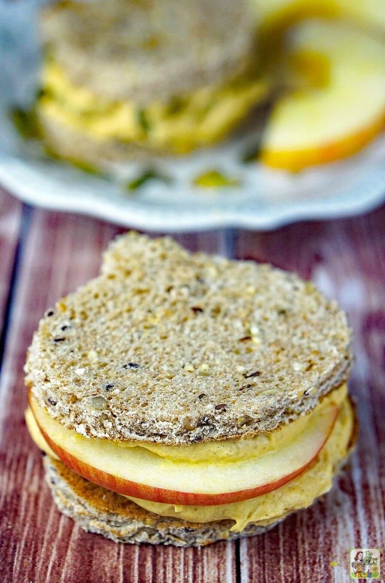 Closeup of a pumpkin dip sandwich