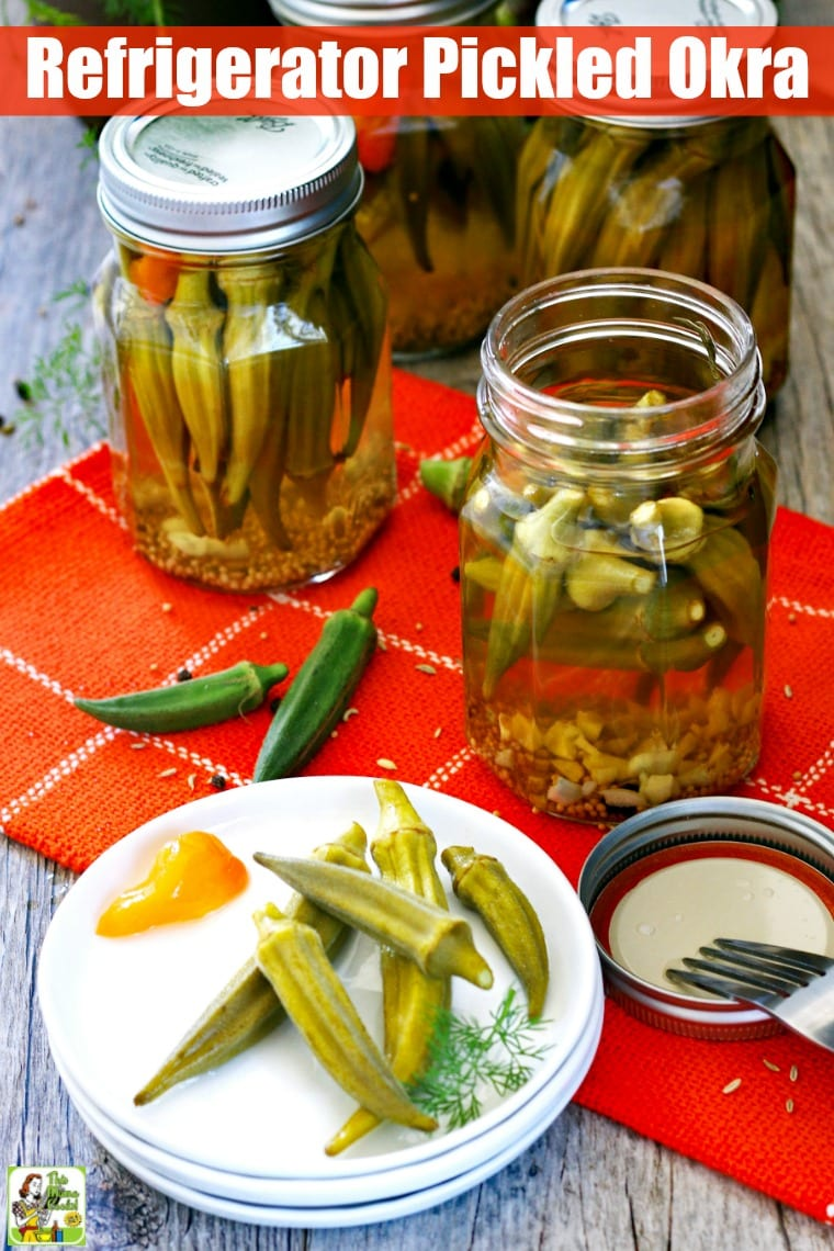 This Refrigerator Pickled Okra recipe is one of the easiest pickling or canning recipes you can try. Use this spicy pickled okra in sandwiches, burgers, charcuterie boards, or as a party appetizer. Add quick easy pickled okra to garnish Bloody Mary's or Dirty Martinis. #recipes #easy #recipeoftheday #glutenfree #easyrecipe #easyrecipes #glutenfreerecipes #canning #pickles #cocktails #appetizers