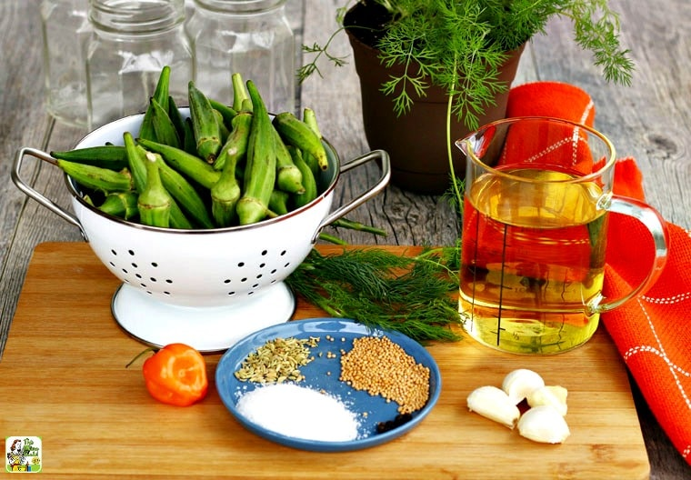 Ingredients for making pickled okra including spices, garlic, peppers, herbs, and vinegar.