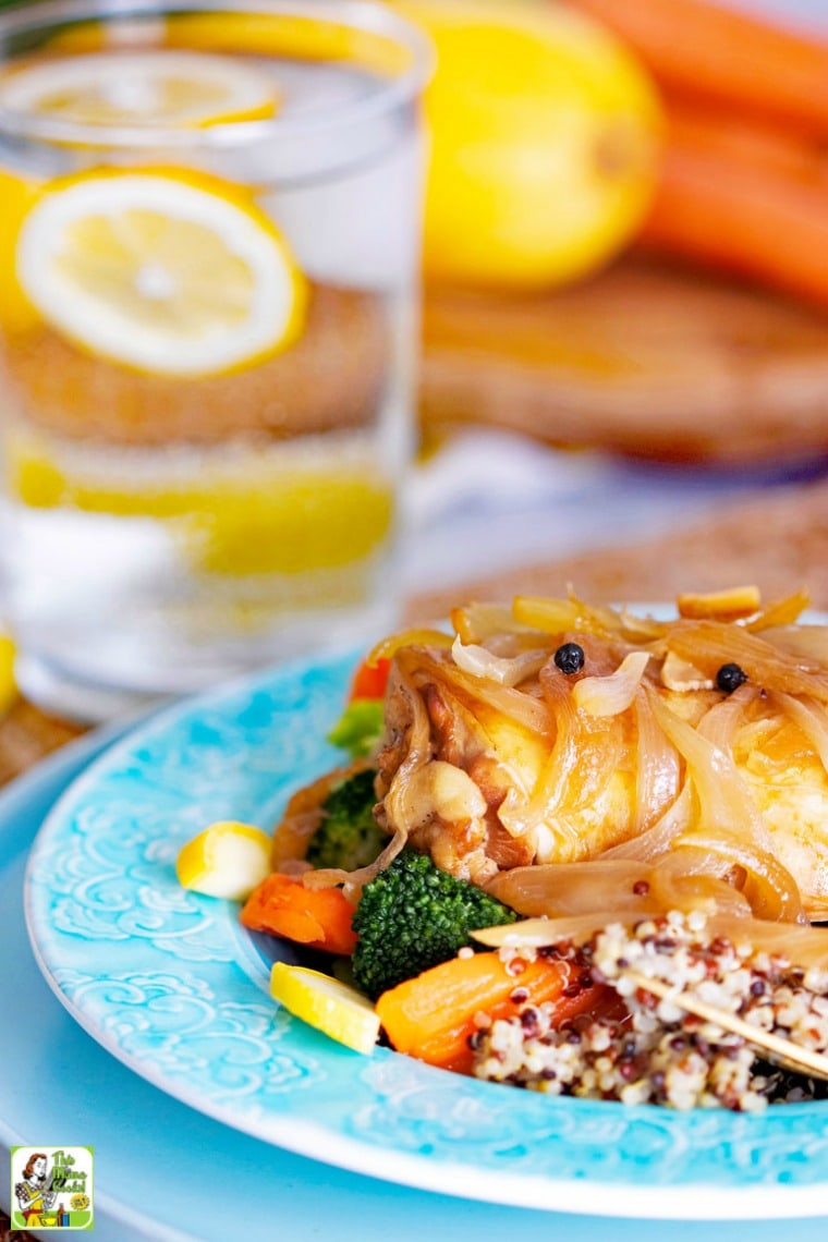 Slow Cooker Chicken Adobo is served with quinoa and steamed vegetables.
