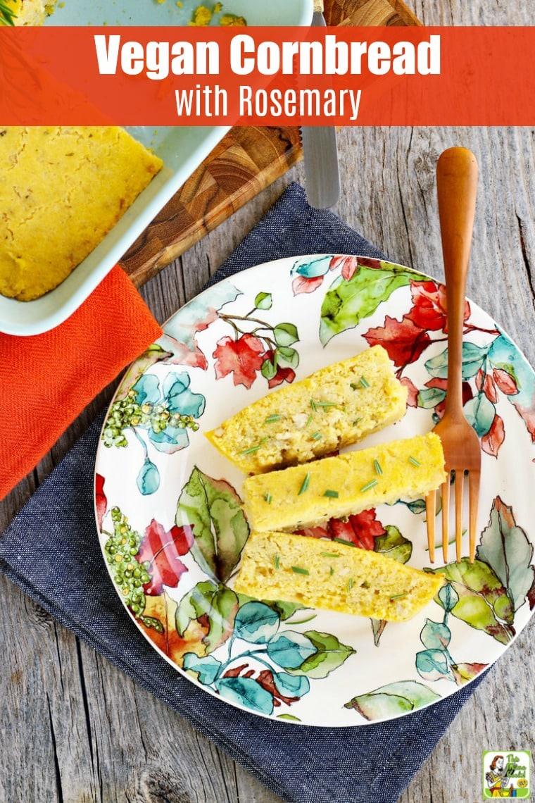 Vegan cornbread with rosemary is perfect for Thanksgiving and making stuffing. You'll love gluten-free cornbread for cookouts, too. #recipes #easy #recipeoftheday #glutenfree #easyrecipe #easyrecipes #glutenfreerecipes #baking #thanksgiving  #Thanksgivingrecipes #veganfood #vegan #veganrecipes #dairyfree #eggfree #sidedish
