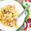 Mac & Cheese Casserole with Peas, Carrots & Ham