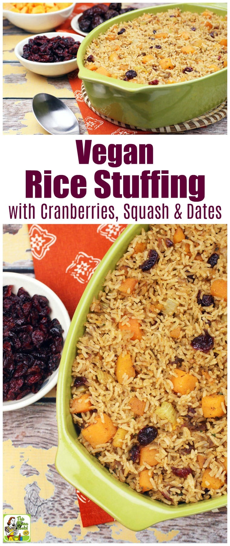 Vegan Rice Stuffing Recipe with Cranberries, Squash & Dates