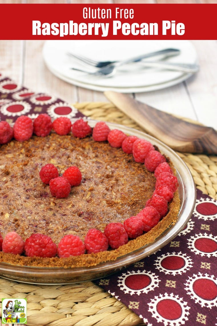 Raspberry Pecan Pie, plates, forks, and pie server