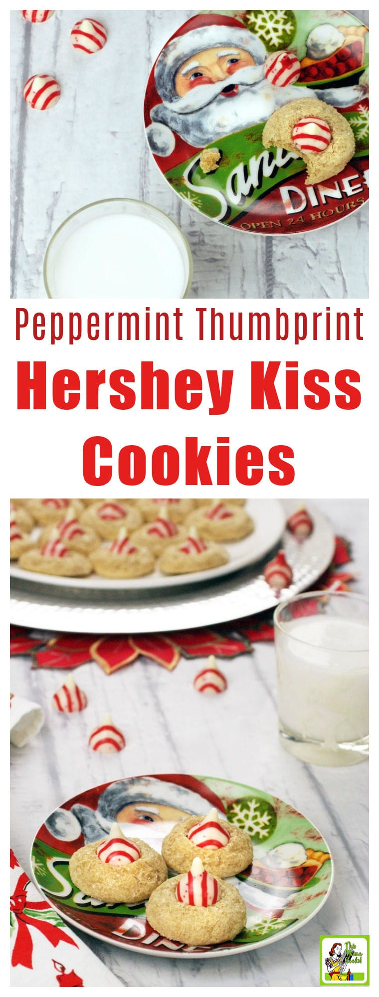 Peppermint Thumbprint Hershey Kiss Cookies Recipe