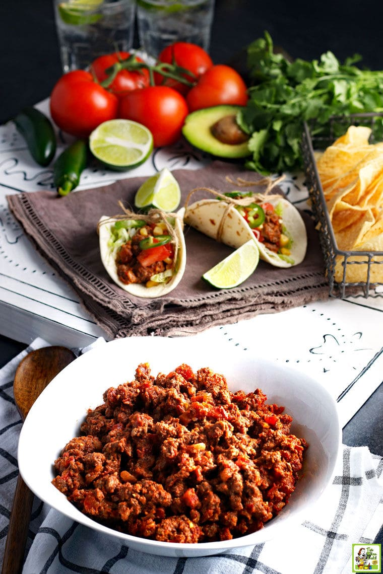 A white dish of spicy Crockpot Taco Meat