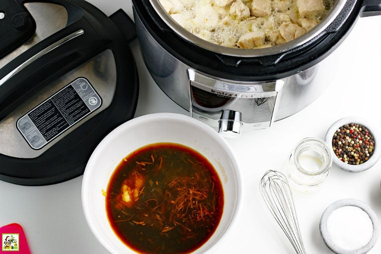 Ingredients for how to make instant pot orange chicken.