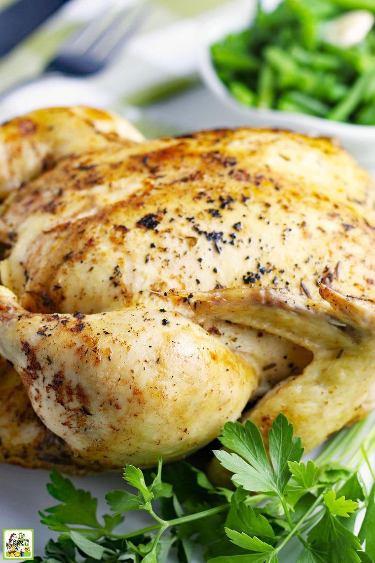 Closeup of Instant Pot Rotisserie Whole Chicken Recipe