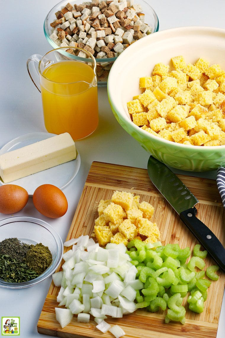 Ingredients to make a recipe for Gluten Free Cornbread Stuffing.