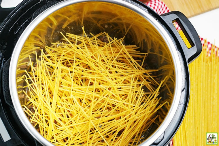 Broken uncooked spaghetti in an Instant Pot.