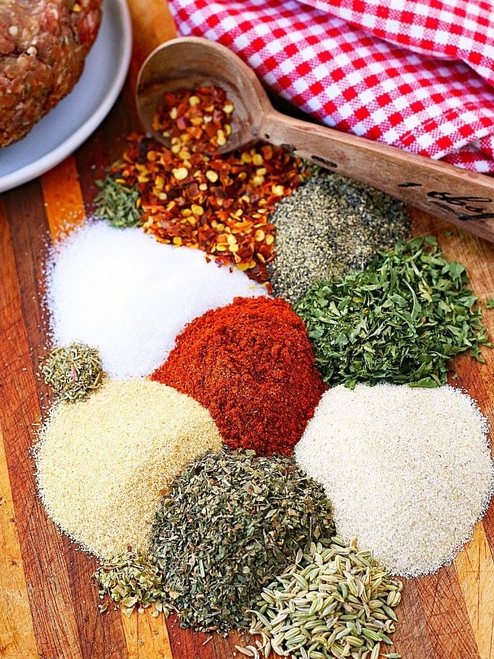 Seasonings and spices for homemade Italian sausage recipe.