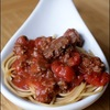 Healthy whole wheat spaghetti with meat sauce