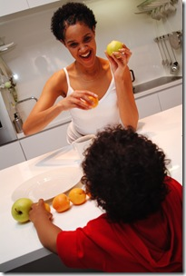mom cooking with apples