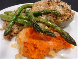 Oven Roasted Asparagus and Smashed Sweet Potatoes at This Mama Cooks! On a Diet - thismamacooks.com