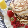 Stephanie Izard's Oatmeal Pancakes with Pomegranate Syrup Recipe