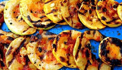 Got too much zucchini? Why not grill it? Grilled Zucchini and Summer Squash with Sun Dried Tomato Pesto